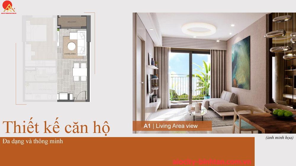 Phòng khách căn 1PN căn hộ tại dự án Hoa Lâm Bình Tân.