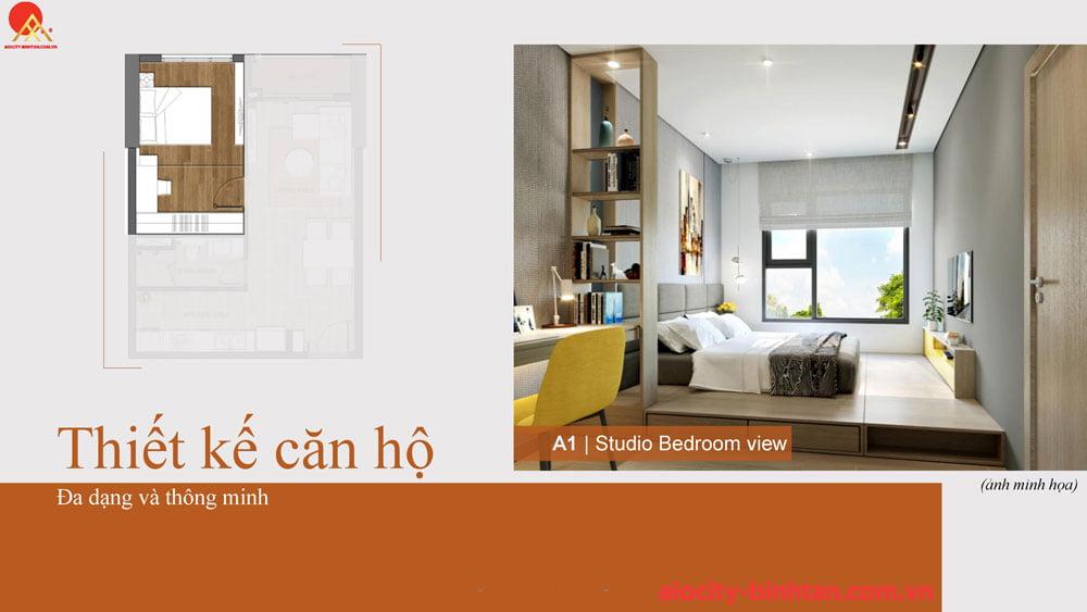 Phòng ngủ căn 1PN căn hộ tại dự án Hoa Lâm Bình Tân.