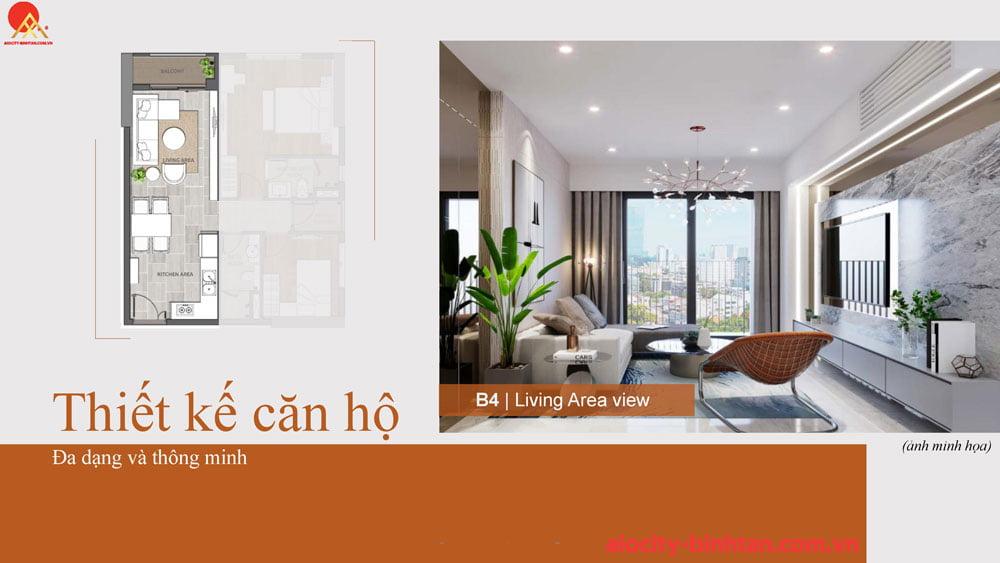 Phòng ngủ căn 2PN căn hộ tại dự án Hoa Lâm Bình Tân.