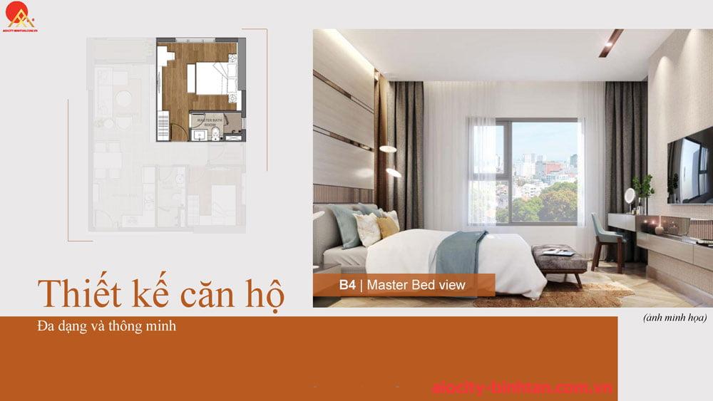 Phòng ngủ căn 2PN căn hộ tại dự án chung cư Hoa Lâm Bình Tân.