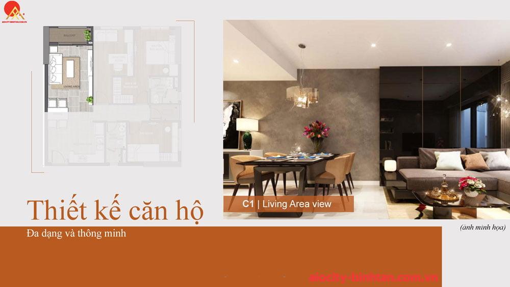 Phòng khách căn 3PN căn hộ tại dự án Hoa Lâm đường Tên Lửa.