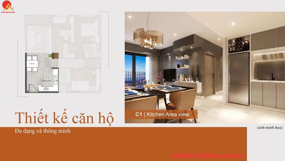 Phòng bếp căn 3PN căn hộ tại dự án Hoa Lâm đường Tên Lửa.