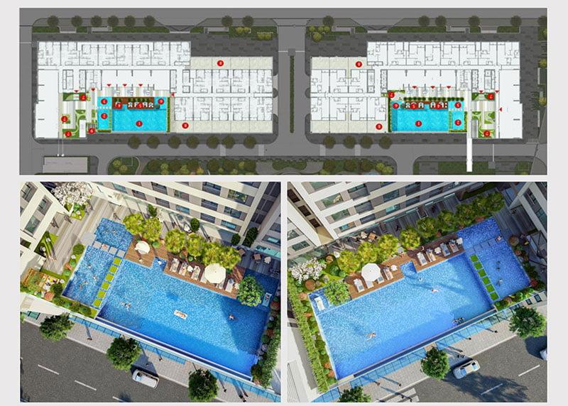 Tiện ích hồ bơi tràn tại căn hộ Aio Bình Tân.